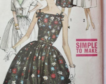 1960s One Piece Dress, Jacket, Vintage Sewing Pattern, Simplicity 3961 Full Skirt Bust 32 UNCUT