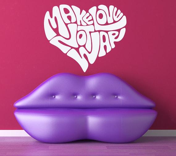 Make Love Not War Hippie Retro Decal by VinylWallAdornments