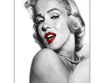 Marilyn Monroe Glamorous Red Lips On Canvas Pictures Wall Art Prints Home Decoration Framed Poster Modern