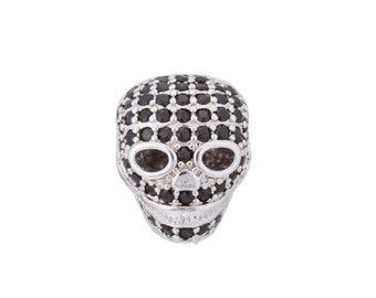 2pcs Silver Skull Charm, Skull Head, Metal Skull, Skull Charm Bracelet, Cubic Zirconia Bracelet Charm Bead Connector for Bracelet Making