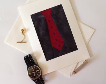 Upcycled Necktie Greeting Card, Necktie Quilt Block Card, One of a Kind Birthday Card, Father's Day Card, Fibre Art Fabric Greeting Card