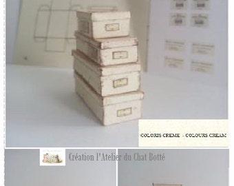 kit pour fabriquer 8 boîtes en papier de couleur crème échelle 1/12ème - kit for making 8 Boxes cream scale 1/12ème