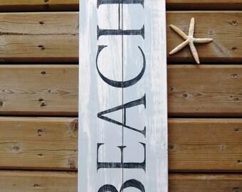 Handpainted Distressed Wood Beach Sign - Weathered, Nautical, Ocean, Sailing, Sea, Reclaimed Look