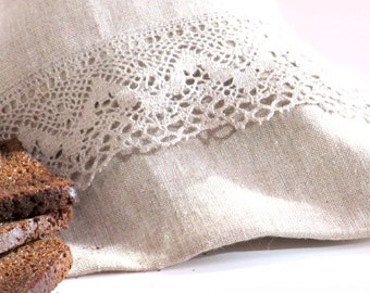 Natural Linen Bread Bag with Lace, Bread Sachet, Handmade, Bread Holder, Grey, 100% Pure Linen, Eco-friendly Gift