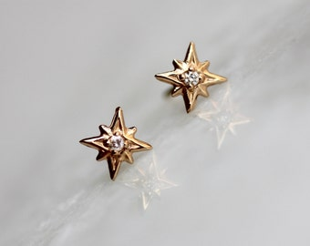 "14K Gold Diamond ""North Star"" Studs, Diamond Studs, Diamond Earrings, Real Gold, Star Studs, Star Earrings, Diamond"