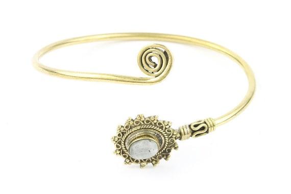 Moonstone Mandala Bracelet, Spiral Bracelet, Lower Arm Cuff Bracelet, Gemstone Bracelet, Wrap Around Bracelet, Festival Jewelry, Boho
