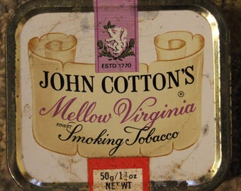 Vintage 20th Century-Era John Cotton's Mello Virginia Finest Smoking Tobacco Tin