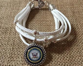 Navy/military white leather multi-strand bracelet, silver charm leather bracelet