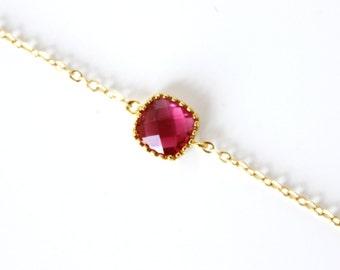 Fuchsia Bracelet Hot Pink Bracelet Gold Red Bracelet Reddish Fuchsia Bridesmaid bracelet Red Bridesmaid Glass Stone Bracelt Fuchsia Gemstone