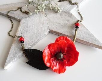 Bronze Flower necklace poppy