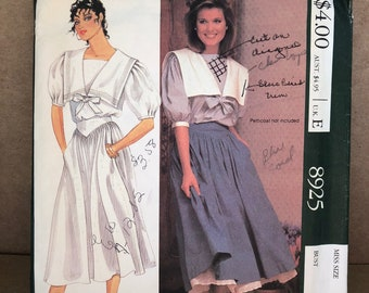 """80s Vintage McCall's 8925 Laura Ashley Printed Sewing Pattern - Misses' Top and Skirt; Size 8, Bust 31 1/2"""""""