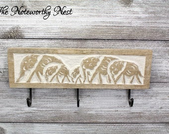 Carved wood hooks // White hooks // Elephant decor // carved wood wall decor // key hook // entry hook // bedroom hook // bathroom hook