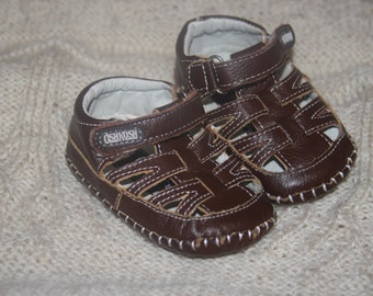 Brown Leather 'OshKosh' Baby Soft Soled Sandals