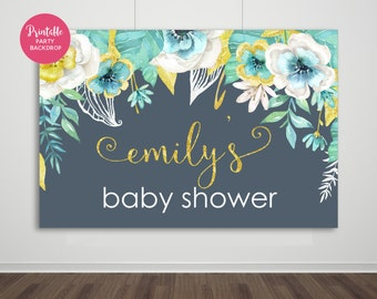 Baby Shower Backdrop, Baby Shower, Baby Shower Decor, Printable Backdrop, YOU PRINT, Printable Backdrop, Party Backdrop, Navy & Gold