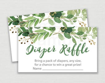 Green Floral Diaper Raffle Tickets / Greenery Baby Shower / Floral Baby Shower / Watercolor Leaves / Gender Neutral / INSTANT DOWNLOAD A178