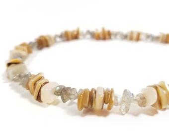 Surfer men's necklace - beige shell necklace for men - Sun Shells