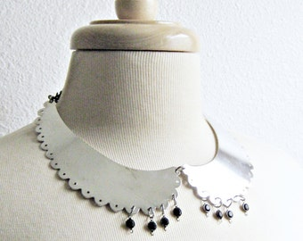Peter Pan Collar, Metal Necklace, Silver Necklace, Peter Pan Collar, Silver and Black, Metal Collar, Collar Necklacce, Black Chunky Chain