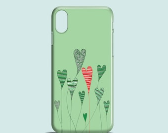 Growing Hearts mobile phone case, iPhone X, iPhone 8, iPhone 8 Plus, iPhone 7, 7 Plus, iPhone SE, iPhone 6S, iPhone 6, iPhone 5S, iPhone 5