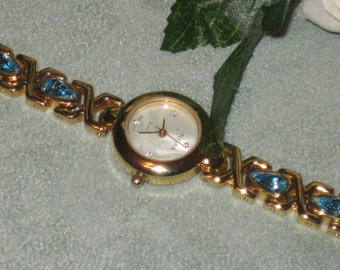 Futura Watch, Aqua Marine Teardrop Rhinestone Settings, Newer Vintage, Battery, Gold Tone