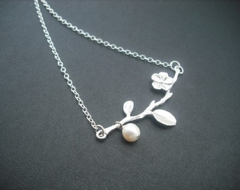 matte white gold lovely branch necklace - white gold plated chain