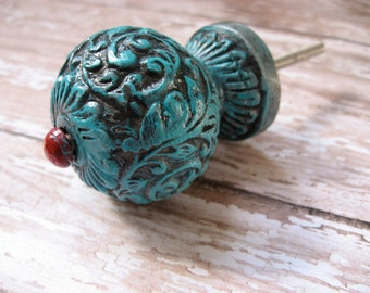 2 Turquoise and Red Round Scrolled Knobs Farmhouse Cottage Bohemian Vine O-5