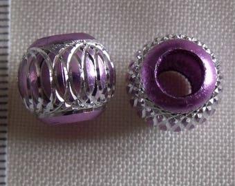 set of 4 lightweight acrylic beads purple silver