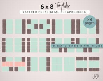 PLANTILLAS de 6 x 8 para Scrapbooking Digital