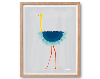 Flamingo Art print, blue ballet Tutu - Art Print, Animal Illustration, Animal print, home decor, Kids art, wall art prints, nursery decor