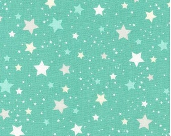 Stars on Mint from Robert Kaufman's Space Explorers Collection by Ann Kelle