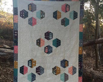 Hex Appeal Quilt as featured in Better Homes and Garden Quilt Sampler - Owl Quilt Kit - Nightfall Fabrics - Art Gallery Fabrics