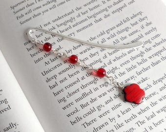 "Red and Silver Flower Metal Bookmark, 3.5"" / Flower Bookmark /  Red Bookmark  / Metal Bookmark  / Beaded Bookmark"