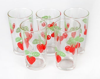 Vintage decoration-five glasses with strawberries and cherries