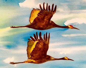 Bird Watercolor Sandhill Crane Bird Art, Nature Art Flying Birds Couples Gift Original Watercolour Office Wall Art Nature Wall Art