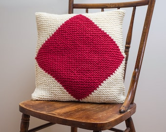 """Nautical Signal Flag """"F"""" Pillow Cover - knit in wool"""