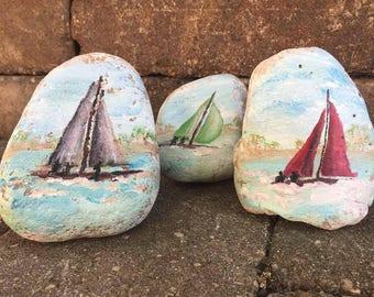 Sailboats on Lake Painted Rocks (Set)