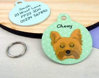 Dog Tag - Yorkshire Terrier ID Tag - Yorkie Collar Charm - Yorkie Dog Name Tag - Small 25mm