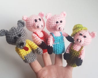 The three little Pigs Finger Puppets crochet puppets crochet finger theater pig wolf amigurumi theater Waldorf toy home puppets theatre