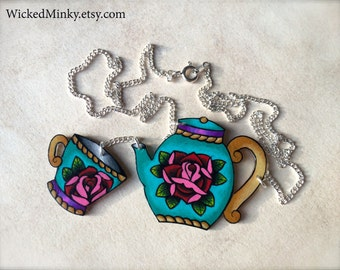 Tattoo style teapot and teacup necklace bright hot pink red rose and aqua diy tattoo necklace by WickedMinky