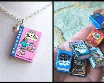 Matilda with Tiny Heart Charm - Micro-Mini Book Necklace