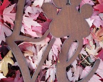 Custom LOVE Paw Print pet memorial recycled steel Pet Name Sign Metal custom wall art