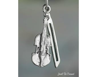 Sterling Silver Violin Charm Instrument and Bow Violinist 3D Solid 925