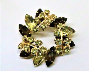 Rhinestone Brooch - Vintage, Juliana Style, Amber and Green Colored Rhinestones, Floral Pin