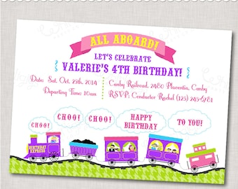 """Purple Pink Train Party Invitation - """"Birthday Express"""" - - Digital File or Printed Invitations with Envelopes - FREE SHIPPING"""