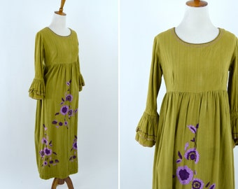 Vintage 1960's Olive Green Embroidered Maxi Dress with Ruffle Bell Sleeves - 60's Hippy Flower Power boho cotton Dress - Size Medium