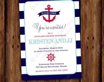 Nautical Wedding Shower - Anchors Aweigh - Nautical Stripe Wedding Shower - Couples Shower - Baby Shower, Printable or Printed Invitations