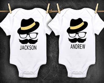 Personalized twin outfits, gift for twins, newborn twins, boy boy twins, twin clothing, hipster clothing, hipster baby, mustache baby, gift