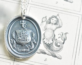 ship and mermaid wax seal necklace pendant ... the sentinel sleeps not - French motto sterling silver antique wax seal jewelry