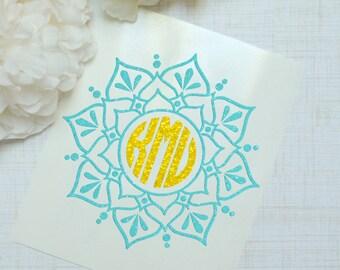 Mandala Monogram Glossy and Glitter Vinyl Decal, Glossy and Glitter Monogram Sticker, Circle Monogram