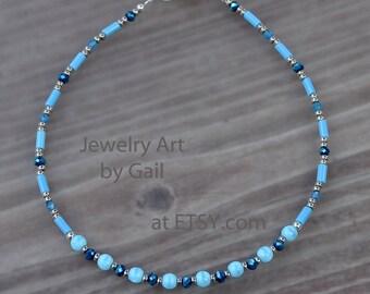 Aqua Turquoise Beaded Anklet