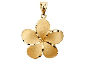 14K Gold Plumeria Pendant, Plumeria Pendant, Plumeria Jewelry, Floral Pendant, Floral Jewelry, Gold Plumeria